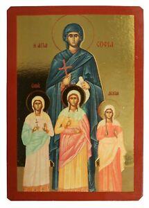 SAINTS SOPHIA AND DAUGHTERS, FAITH, HOPE AND LOVE-Greek Byzantine Orthodox Icon