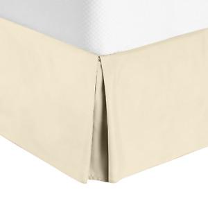 "Luxury Pleated Tailored Bed Skirt - 14"" Drop Dust Ruffle, Full XL - Cream Beige"