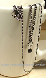 Double Chain Necklace with Black Crystal Charm Antique Bronze Finish