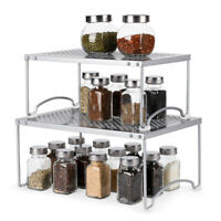 2Tier Expandable Stackable Kitchen Cabinet Counter Shelf Organizer Spice Storage