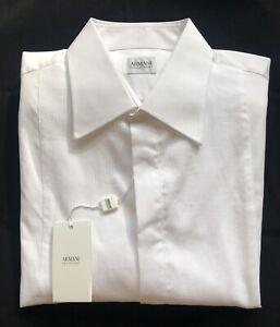 NWT $325 Armani Collezioni Camicia Mens White Dress Shirt 42/16.5