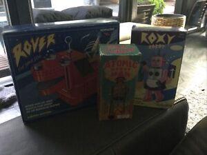 Rover The Space Dog & Roxy Robot W/bonus Atomic Robot Man Tin Toy Schylling