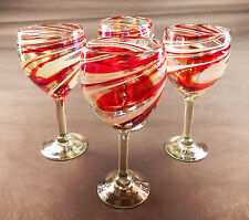 Wine Glasses Hand Blown Red White Iridescent swirls candy cane design 16 oz (4)