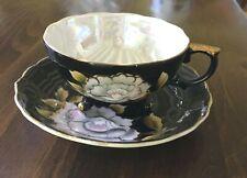 Vintage Tea Cup & Saucer White Pink Cabbage Rose Hand Painted Japan Black Lustre