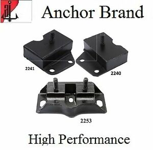 3 PCS FRONT MOTOR & TRANS MOUNT For 1968-1969 Ford TORINO 6.4L