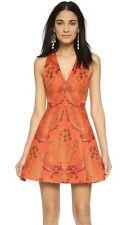 Alice + olivia Mollie Deep V Box Dress Brocade Red Floral Jacquard Size 4 NWOT