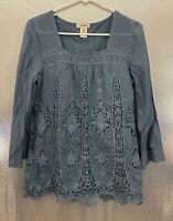 Sundance Womens Sz M Petite Blue Crochet Lace Cotton Silk Lined Boho Peasant Top