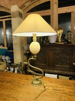 Vintage Ostrich Egg & Solid Bronze Table Lamp, Maison Charles, Mid Century