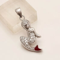 925 Sterling Silver Mirmaid Pendant Russian White Topaz Charm Fine Jewelry Gifts
