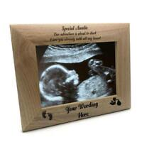 New Baby Pregnancy Scan Wooden Photo Frame Personalised Auntie Gift