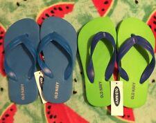 2 pr OLD NAVY KIDS FLIP FLOPS size 10/11 BLUE & GREEN w/ blue straps