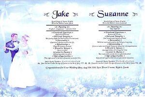 PERSONALISED* WEDDING DAY*ANNIVERSARY*ENGAGEMENT*CIVIL WEDDING*SCROLL* 4 DESIGNS