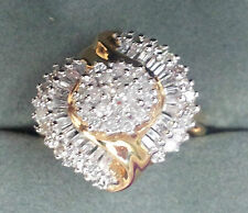 FABULOUS DIAMOND SWIRL CLUSTER 14 CT YELLOW GOLD RING SIZE N