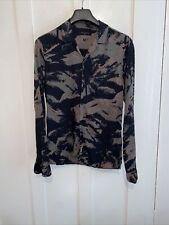 Men's All Saints Green Black Khaki Camouflage Shirt Size S Small