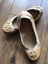 Tory Burch Reva Beige Patent Leather Ballerina Pumps Flats 7 40 US 9