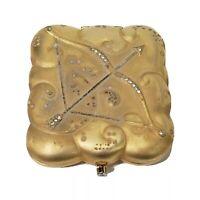 Vtg Estee Lauder Golden Sagittarius Compact Case Gold Tone Rhinestones Arrow