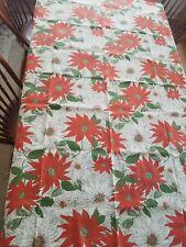 Vintage christmas tablecloth poinsetta