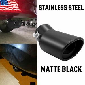 Car Trim Exhaust Pipe 62mm Stainless Steel Bend Muffler Tip Tail Throat Black MT