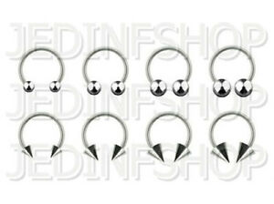 Circular Barbell Horseshoe Ring | 1.0mm (18g) - 6mm 8mm 10mm 12mm 14mm | Steel
