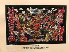BEAR WHIZ BEER Man ~ VINTAGE ~ New Old Stock ~ Poster Advertising Sign P4