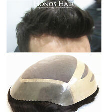 Hair Replacement Skin Front Mens Hairpiece Wigs for Men Toupee Human Hair 1B