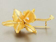 Brosche Gold 750 mit 1 Biwaperle - Goldbrosche - 18 kt Gold - Blüte mit Blättern
