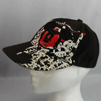 Mickey Mouse Red Face Black Ball Cap Disney Parks Fitted Youth 100% Cotton