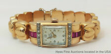 44g Genuine Diamond Girard Perregaux 18k Rose Gold Retro Deco Syn Ruby Watch