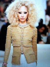 Chanel 2015C NEW DYBAI AMAZING Ochre Gold Jacket Gold Pearls CC buttons FR40
