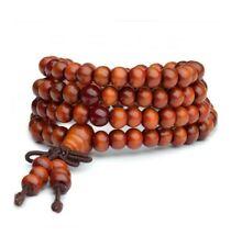 Bracelet Tibétain Mala en perles de bois 6 mm + noeud sans fin. Coloris camel