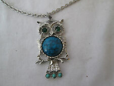 """Turquoise Stones & Green Crystal Eyes Silvertone 2"""" Owl Pendant Necklace With"""