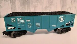 LIONEL 9010 O Scale GREAT NORTHERN 2 Bay HOPPER CAR w/ Coal Cover