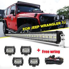 """50"""" 2880W LED Work Light Bar + 4"""" Lights Pods For Jeep Wrangler JK  YJ CJ LJ TJ"""