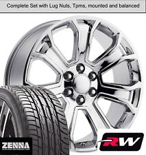 "22 x9"" inch GMC Sierra 1500 7 Spoke Wheels Chrome Rims Tires fit Sierra"