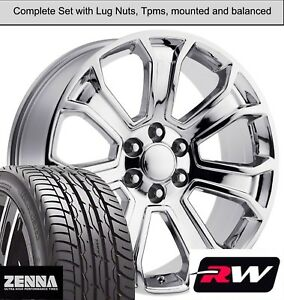 "22 x9"" inch GMC Sierra 1500 7 Spoke Wheels Chrome Rims Tires fit Sierra"