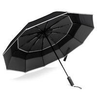 BANANA UMBRELLA, Windproof Compact Travel Umbrella, Auto Close and Open (Black)