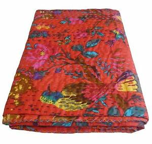 Indian Floral Queen Kantha Handmade Cotton Quilt Bed Cover Throw Blanket Gudari