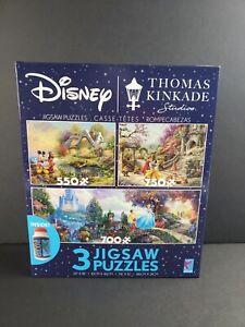 Disney Thomas Kincade 3 Jigsaw Puzzles Plus Glue Mickey Cinderella Snow White