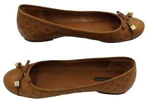 LOUIS VUITTON Brown Leather Monogram Embossed Logo Bow Ballet Flats 38.5 EU