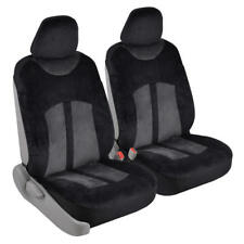 Super Soft Velour Car Seat Covers for Front Bucket Seats - Charcoal/Black