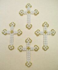 """Bead Craft Kit Golden Pearl Cross Christmas Ornaments 4"""" high Makes 4 New"""