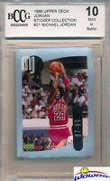 1998 Upper Deck #21 Michael Jordan Sticker BECKETT 10 MINT Bulls HOF