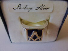 STERLING SILVER MASONIC SIGNET RING WITH BLUE ENAMELL UK MADE
