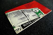 "ROVER "" 3-LITRE  MK III ""  1965  original  INSTRUCTION / OWNER's  MANUAL"