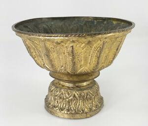 Antique South East Asian Tibetan Style Brass Yak Butter Lamp Stem Bowl