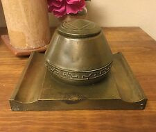 "Arts and Crafts ""Real Bronze"" Inkwell by Silver Crest"