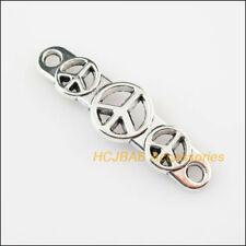 8 New Peace Sign Charms Connectors Tibetan Silver Tone Pendants 11.5x39.5mm