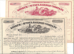 2 Stks Keokuk & St. Paul Ry Iowa  Same format, two colors Not issued   A C.B & Q