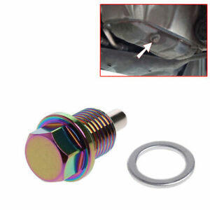 M12 x 1.25MM Colorful Magnetic Engine Oil Pan Drain Plug Nut Bolt Crush Washer