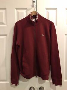 Lacoste Burgundy Knit Track Jacket (Large)